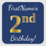 [ Thumbnail: Blue, Faux Gold 2nd Birthday + Custom Name Sticker ]