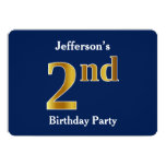 [ Thumbnail: Blue, Faux Gold 2nd Birthday Party + Custom Name Invitation ]
