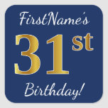 [ Thumbnail: Blue, Faux Gold 31st Birthday + Custom Name Sticker ]
