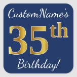 [ Thumbnail: Blue, Faux Gold 35th Birthday + Custom Name Sticker ]