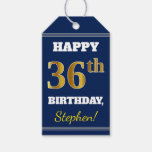 [ Thumbnail: Blue, Faux Gold 36th Birthday + Custom Name Gift Tags ]