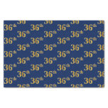 [ Thumbnail: Blue, Faux Gold 36th (Thirty-Sixth) Event Tissue Paper ]
