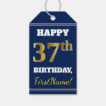 [ Thumbnail: Blue, Faux Gold 37th Birthday + Custom Name Gift Tags ]