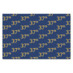 [ Thumbnail: Blue, Faux Gold 37th (Thirty-Seventh) Event Tissue Paper ]