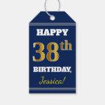 [ Thumbnail: Blue, Faux Gold 38th Birthday + Custom Name Gift Tags ]
