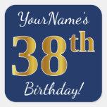[ Thumbnail: Blue, Faux Gold 38th Birthday + Custom Name Sticker ]