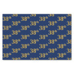 [ Thumbnail: Blue, Faux Gold 38th (Thirty-Eighth) Event Tissue Paper ]