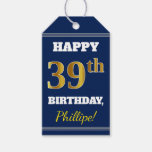 [ Thumbnail: Blue, Faux Gold 39th Birthday + Custom Name Gift Tags ]
