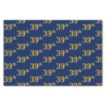 [ Thumbnail: Blue, Faux Gold 39th (Thirty-Ninth) Event Tissue Paper ]