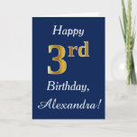 [ Thumbnail: Blue, Faux Gold 3rd Birthday + Custom Name Card ]