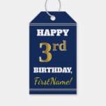 [ Thumbnail: Blue, Faux Gold 3rd Birthday + Custom Name Gift Tags ]
