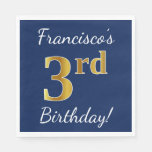 [ Thumbnail: Blue, Faux Gold 3rd Birthday + Custom Name Paper Napkin ]