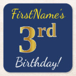 [ Thumbnail: Blue, Faux Gold 3rd Birthday + Custom Name Paper Coaster ]
