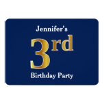 [ Thumbnail: Blue, Faux Gold 3rd Birthday Party + Custom Names Invitation ]