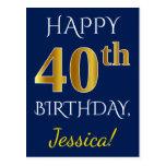 [ Thumbnail: Blue, Faux Gold 40th Birthday + Custom Name Postcard ]