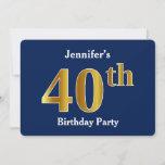 [ Thumbnail: Blue, Faux Gold 40th Birthday Party + Custom Name Invitation ]