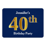 [ Thumbnail: Blue, Faux Gold 40th Birthday Party + Custom Name Invitation ]