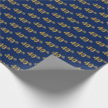 [ Thumbnail: Blue, Faux Gold 40th (Fortieth) Event Wrapping Paper ]