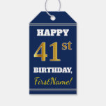 [ Thumbnail: Blue, Faux Gold 41st Birthday + Custom Name Gift Tags ]