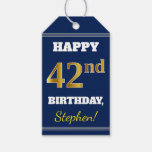 [ Thumbnail: Blue, Faux Gold 42nd Birthday + Custom Name Gift Tags ]