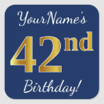 [ Thumbnail: Blue, Faux Gold 42nd Birthday + Custom Name Sticker ]