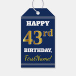 [ Thumbnail: Blue, Faux Gold 43rd Birthday + Custom Name Gift Tags ]