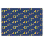 [ Thumbnail: Blue, Faux Gold 43rd (Forty-Third) Event Tissue Paper ]