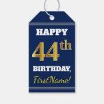 [ Thumbnail: Blue, Faux Gold 44th Birthday + Custom Name Gift Tags ]
