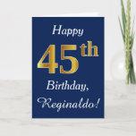 [ Thumbnail: Blue, Faux Gold 45th Birthday + Custom Name Card ]