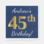 [ Thumbnail: Blue, Faux Gold 45th Birthday + Custom Name Napkin ]