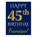 [ Thumbnail: Blue, Faux Gold 45th Birthday + Custom Name Postcard ]