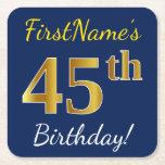[ Thumbnail: Blue, Faux Gold 45th Birthday + Custom Name Paper Coaster ]