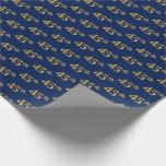 [ Thumbnail: Blue, Faux Gold 45th (Forty-Fifth) Event Wrapping Paper ]