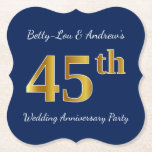 [ Thumbnail: Blue, Faux Gold 45th Wedding Anniversary Party Paper Coaster ]