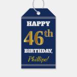 [ Thumbnail: Blue, Faux Gold 46th Birthday + Custom Name Gift Tags ]