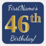 [ Thumbnail: Blue, Faux Gold 46th Birthday + Custom Name Sticker ]