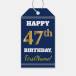 [ Thumbnail: Blue, Faux Gold 47th Birthday + Custom Name Gift Tags ]