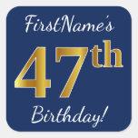 [ Thumbnail: Blue, Faux Gold 47th Birthday + Custom Name Sticker ]