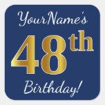 [ Thumbnail: Blue, Faux Gold 48th Birthday + Custom Name Sticker ]
