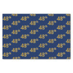 [ Thumbnail: Blue, Faux Gold 48th (Forty-Eighth) Event Tissue Paper ]