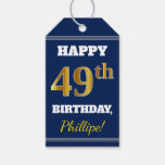 [ Thumbnail: Blue, Faux Gold 49th Birthday + Custom Name Gift Tags ]