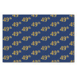 [ Thumbnail: Blue, Faux Gold 49th (Forty-Ninth) Event Tissue Paper ]