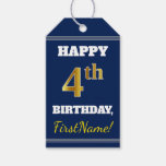[ Thumbnail: Blue, Faux Gold 4th Birthday + Custom Name Gift Tags ]