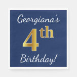 [ Thumbnail: Blue, Faux Gold 4th Birthday + Custom Name Paper Napkin ]