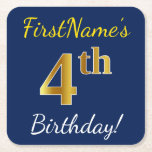 [ Thumbnail: Blue, Faux Gold 4th Birthday + Custom Name Paper Coaster ]