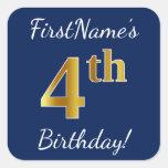 [ Thumbnail: Blue, Faux Gold 4th Birthday + Custom Name Sticker ]