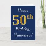 [ Thumbnail: Blue, Faux Gold 50th Birthday + Custom Name Card ]