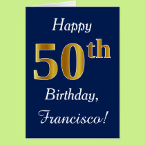 Blue, Faux Gold 50th Birthday   Custom Name Card