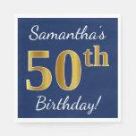 [ Thumbnail: Blue, Faux Gold 50th Birthday + Custom Name Paper Napkin ]