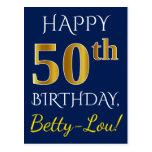 [ Thumbnail: Blue, Faux Gold 50th Birthday + Custom Name Postcard ]